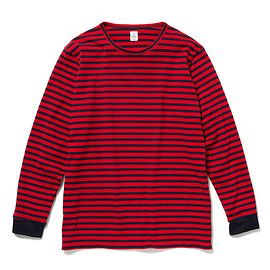 HEAD PORTER PLUS - BORDER L/S TEE RED