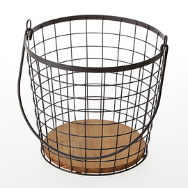 カインズホーム - black iron round basket with wooden tray