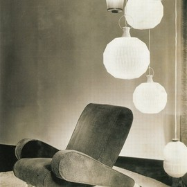Jean Royere - Armchair and Metal lamps, ca 1955
