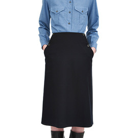 MARGARET HOWELL - Brushed chambray military shirt, vintage barathea bib front skirt, waxed leather military boot