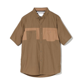 White Mountaineering - COTTON BROADCLOTH CONTRASTED STITCH SWITCHING SHIRT