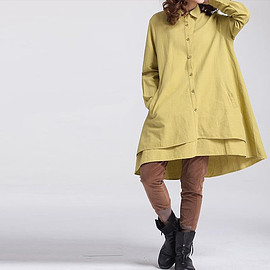 yellow dress - Women Loose linen dress/ Blue dress/ white dress/ yellow dress