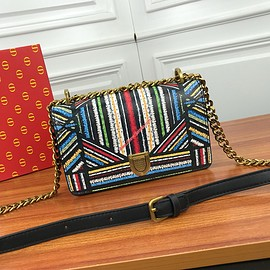 Dior - Small Diorama Bag in Embroidered Calfskin Colorstripes