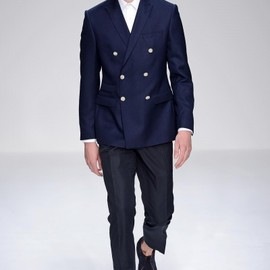 Mr Start - SS13  Small Collar 156 Double Breasted Jacket in Navy Wool