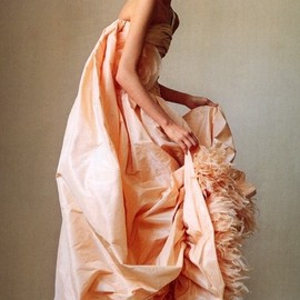 chanel - peach taffeta, ostrich feathers