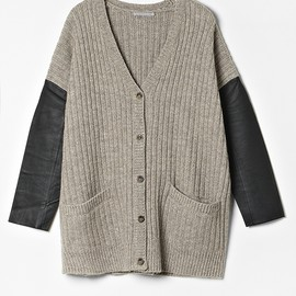 Leather Sleeve Cardigan via cos