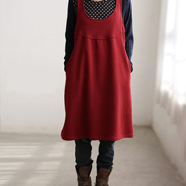 dress - Red Cotton Hooded Tank dress