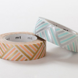 mt - MT 2013 S/S NEW- Japanese Washi Masking Tape set of 2 / Peach & Blue Corner Stripes