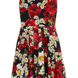 DOLCE&GABBANA - Floral-print cotton-poplin dress