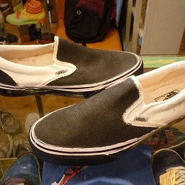 "vans - 「<deadstock>90's vans SLIP-ON  white/black""made in USA"" size:US8/h(26.5cm) 6800yen」完売"
