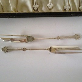 Liberty & Co Cased Silver and Hardstone Spoons - Birmingham 1922