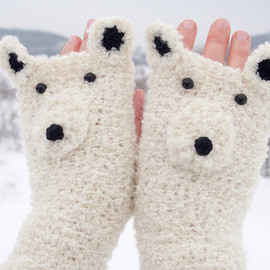 Polar Bear Fingerless Gloves (Boucle) - Free Shipping Worldwide