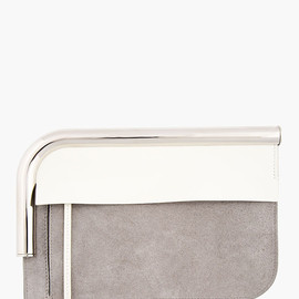 PROENZA SCHOULER - Grey Suede Chrome Bar Clutch