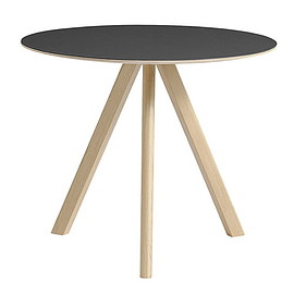 HAY - Hay Copenhague CPH20 round table 90cm, matt lacq. - black lino