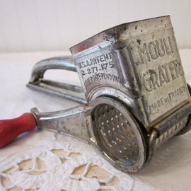 Mouli - vintage Mouli Grater Cheese Grater, Red Wood Handle, Made in France, chippy, rustic, distressed