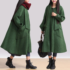 etsy - Green shawl collar tweed jacket / woolen large pocket loose Coat