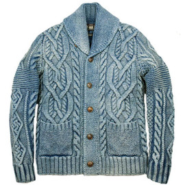 RRL - INDIGO DYED COTTON CABLE HAND KNIT SHAWL CARDIGAN