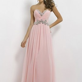 long prom dresses 2017 - Pink Pleated Strapless Crystals Beaded Bust Long Chiffon Dress