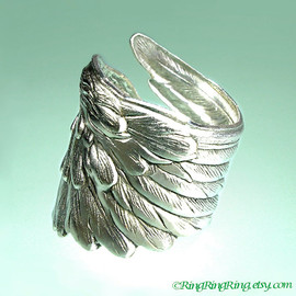 RingRingRing.etsy.com - 925 Detailed Angel Wing ring -  feather ring, Sterling Silver ring jewelry, for men and women 091012