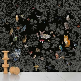 DOMESTIC - Wild wall paper - black