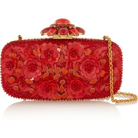 Oscar de la Renta - OSCAR DE LA RENTA Embellished silk-satin box clutch $1,695 at Net-a-Porter