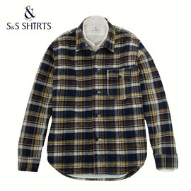 S&S SHIRTS - HW | Heavy Weight Shirts -Navy x Gold Check