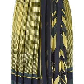 sacai - FW2015 Yellow and blue printed pleated skirt