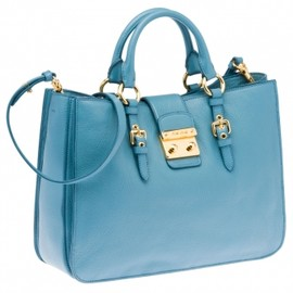 miu miu - FRENCH MADRAS GOATSKIN TOTE in LIGHT BLUE 1