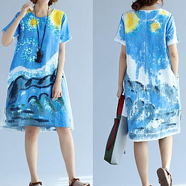 blue dress - Women summer dress blue dress Asymmetrical dress