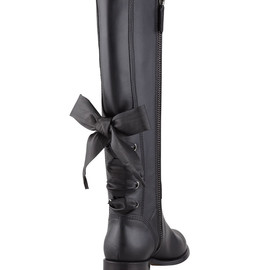 VALENTINO - Ascot Ribbon Lace-Up Riding Boot, Black