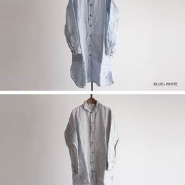 HARROW TOWN STORES - HARROW TOWN STORES[ハロウタウンストアズ] ストライプ ワークボタンロングシャツ/STRIPE WORK BUTTON LONG SHIRTS nht1401st 詳細3