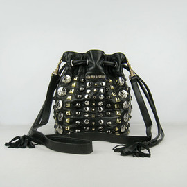 miu miu - studded leather hobo bag