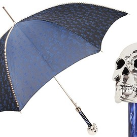 Pasotti - 416NT PBT W33PB - NAVY UMBRELLA WITH STUDS AND SILVER SKULL HANDLE