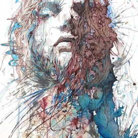 Carne Griffiths - Portraits, drawing, coffee, tea, ink
