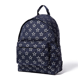 "HEAD PORTER - ""STELLAR (BIG STAR)"" DAYPACK NAVY/SILVER"