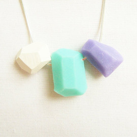 Pastel Geo Necklace in Mint, Soft Lilac and White - Rare Diamonds Collection