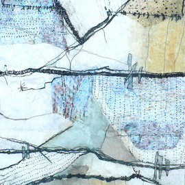 Shelley Rhodes - untitled, etching, mixed media on paper and fabric