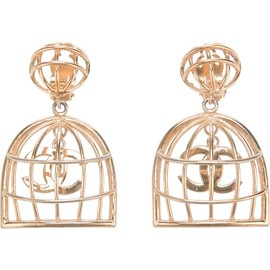 CHANEL - caged logo earrings