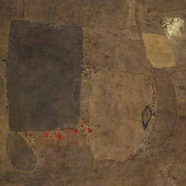 Alberto Burri - Composition 1953. Oil, gold paint, and glue on burlap and canvas