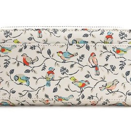 Cath Kidston - Printed Leather Wallet LRG Little Birds Stone