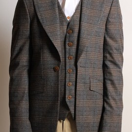Vivienne Westwood - Waiscoat Attachment Jacket in Brown Tweed Check