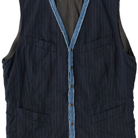 kolor - Cotton/Linen Herringbone Stripe Piping Vest