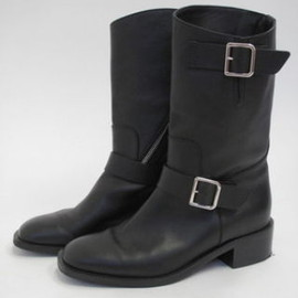CHANEL - Black Leather Motorcycle Boots