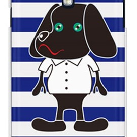 SECOND SKIN - Doggy Stripe ネイビー (クリア) design by Moisture / for GALAXY S4 SC-04E/docomo
