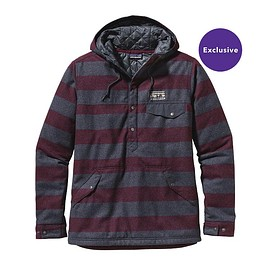 patagonia - Men's Reclaimed Wool Snap-T Pullover - California Wild Stripe: Oxblood Red