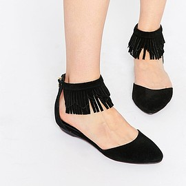 ASOS - New Look King Leather Fringe Ankle Flat Shoes