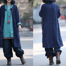 etsy - Chinese Single breasted babydoll Long Coat In Navy blue