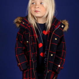 mini rodini - CHECK PARKA COAT DARK BLUE RED