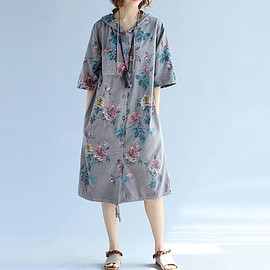 hooded dress - Cotton print dress Large size hooded dress single breasted Bottoming dress