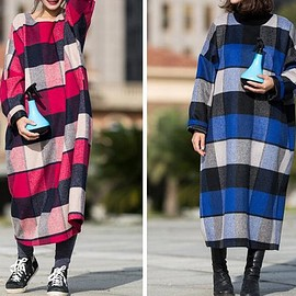 Wool Coat dress - Winter woolen dress, vintage plaid wool robe, Wool maxi dress, loose
